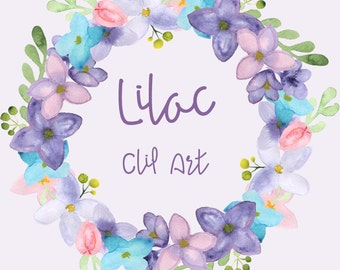 Watercolor Lilac Clip Art - Clipart - Digital - Wreath