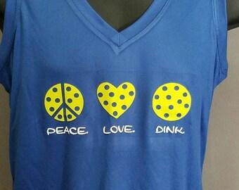 """Women's """"peace, love, dink""""  Pickleball T-shirt"""