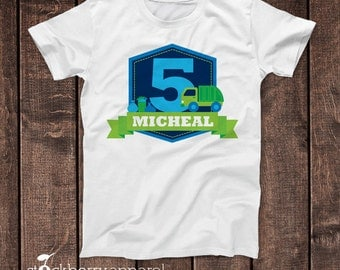 Garbage Truck Birthday Shirt - Personalized Garbage Truck Shirt - Garbage Truck Birthday - Trash Truck Birthday - Boy Birthday Shirt Custom