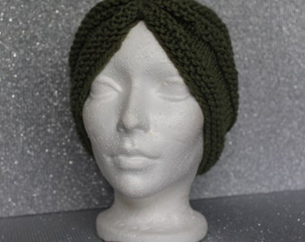 Satin Lined knitted turban hat