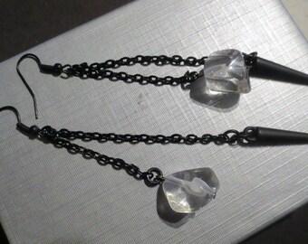 Black chain spike earrings