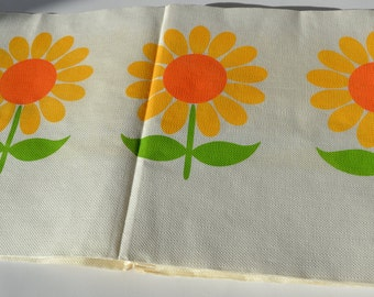 Floral paper table cloth 20 ft x 3 1/3ft bright 1970's graphic - unused
