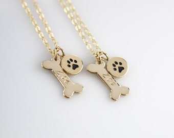 Gold Dog Bone Necklace, Personalized Dog Name, Dog Paw Necklace, Loss of Pet, Pet Memorial, Engraved Dog Name Necklace, Loss of Dog