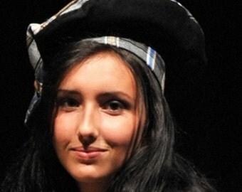 Black beret and tartan (wool fabric)