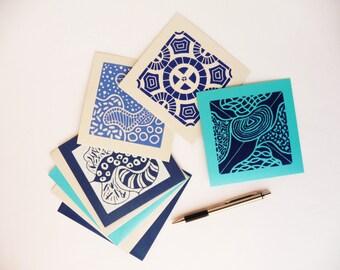 Blue Greeting Card, Blue Card, Blue Card Set, Small Linocut Art Gift, Card Set, Original Gift Card Set, Geometric Cards, Blank Post card Set