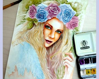 ORIGINAL WATERCOLOUR PAINTING Beautiful girl with a flower crown