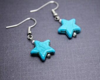 Surgical Steel Earrings Blue Star Earrings Turquoise Earrings Turquoise Star Earrings Stone Star Earrings Girls