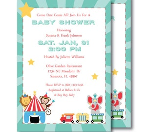 Baby Shower Invitation - Printable - DIY - Circus Animals S003