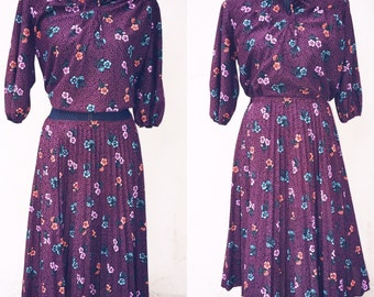 1970s Vintage Plum Floral skirt set M