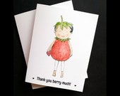Thank you card, Set of 10, cute thank you, thank, girls thank you, girly thank you,baby shower thank you, kids thank you, strawberry girl