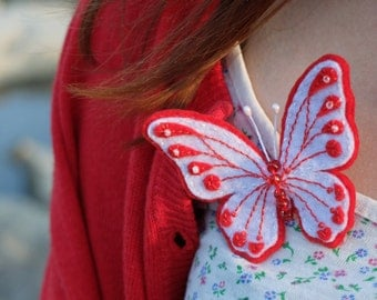 Butterfly brooch, Hand Embroidery, Red White, Felt pin, Insect jewelry, White Moth, Unique gift, Gift for women, Felt Art, Christmas gift