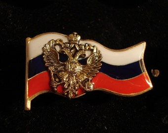 Badge lapel pin - Russian flag  with the Imperial Eagle.