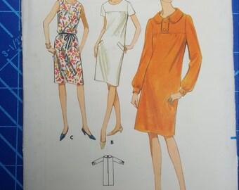 Uncut, Misses Size 16, 1960s Vintage Sewing Pattern, Butterick 4035, Yoke Front Dress, Sleeveless, Short or Long Sleeve