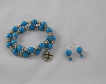 Turquoise 8mm memory  wire bracelet and earrings