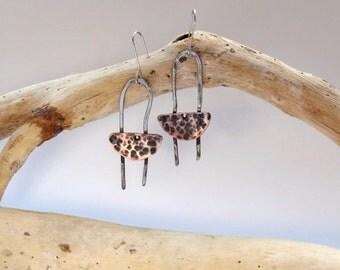 Metal copper jewelry Dangle drop jewelry Copper dangle gift Patina earrings Gift jewelry copper Cute dangle earrings Modern gift for her