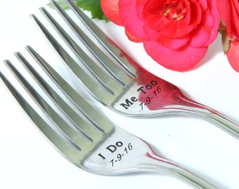 I Do-Me Too Forks, Wedding Cake Forks, Personalized Forks with Dates on the Handles