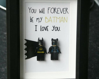 Batman and Catwoman Batwoman Personalised Lego wedding anniversary fathers day romantic quote boyfriend love wife husband dad frame