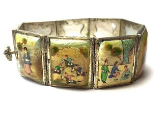Vintage Turkish Scenic and Figural Painted Eight Panel Mother of Pearl Bracelet