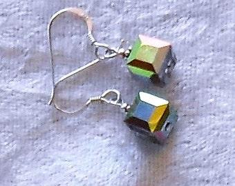 Swarovski Vitrial Medium Cube Crystal and Sterling Earrings