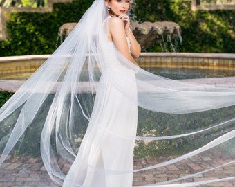 "Wedding veil, Cathedral 112"" bride veil with 180+ Swarovski crystal rhinestones scattered throughout ""Skylar"""