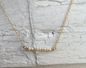 Freshwater Pearl Necklace - Delicate Gold Necklace - Natural Bar Necklace
