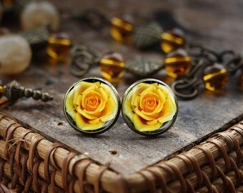 Yellow Rose Stud Earrings, Blooming Rose Earrings, Flower Rose Photo Earrings, Yellow Rose Jewelry Earrings