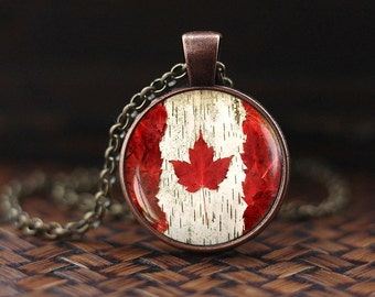 Canada Flag Necklace, Toronto Ottawa Canada Necklace, Flag Necklace, Canada Maple Leaf Flag Pendant, Canada Patriotic Jewelry gift
