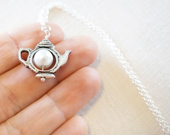 Art Deco Kettle Necklace White Pearl Teapot Necklace Sterling Silver Chain Tiny Silver Teapot Charm Necklace Alice in Wonderland Tea Party