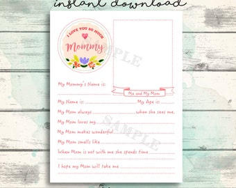 All About Mom Printable Interview, Mom Gift from Kids, Mother's Day Questionnaire, Mommy Questionnaire, Mother's Day Printable Mommy Gift