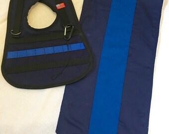 Thin Blue Line Tactical Baby Bib with burp rag