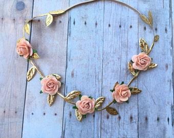 Gold Leaf Flower Crown, Rose Crown, Boho Headband, Woodland Crown, Flower Girl Headband, Gold Headband, Gold Crown, peach and gold crown