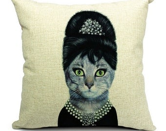 Breakfast at Tiffany's Decorative Pillow - CAT-Tastic! 18x18