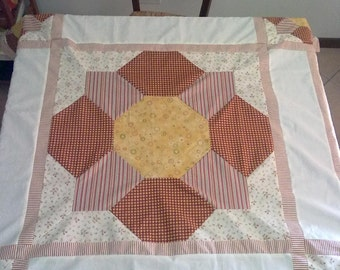 country-style patchwork tablecloth