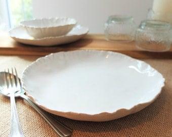 Handmade ceramic pasta bowl, white pottery bowl, white ceramic pasta bowl, handmade bowl, salad, dinnerware, kitchen, dining, serving bowl