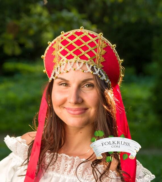 Russian hat traditional kokoshnik Simple silk, Russian crown, Russian beading headwear, Russian traditional hat