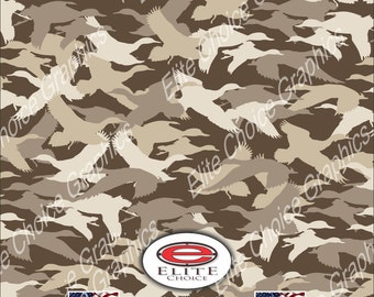"Duck Hunting Silhouette 15""x52"" or 24""x52"" Truck/Pattern Print Tree Real Camouflage Sticker Roll or Sheet"