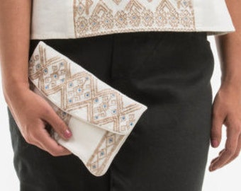 """Bag """"JODI"""" 100% cotton embroidery cotton and metal, for her, woman's clothing"""