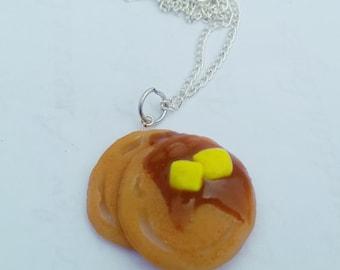 Pancakes Necklace, Handmade Polymer Clay Jewelry