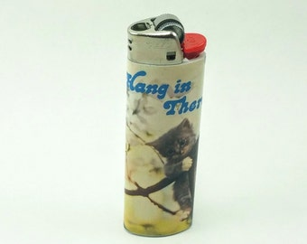 "Custom ""Hang In There"" Cat Lighter"