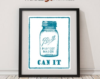 "Mason Jar ""Can It"" Instant Download Digital Printable – Blue Vintage Ball Jar Illustration on White Kitchen Wall Art Home Decor 8 x 10"""