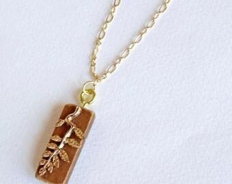 Gold Leaf on Wood Necklace