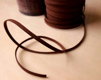 """3/16"""" Wide and 1/16"""" Thick, Brown Faux Suede Ribbon, Suede Trim (5 yards per order)"""