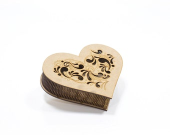 Small heart shaped unfinished wooden box 5x6 inch decoupage furniture supply with ornamental lid