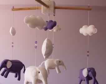 Elephant Felt Baby Mobile, Elephant Crib Mobile Nursery decor,  Nursery Mobile, Elephant Mobile 3 dimensions