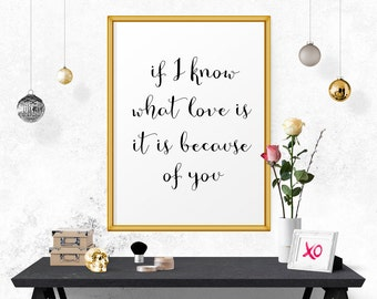 Motivational Poster, I Know What Love Is.. Printable Quote, Typography Wall Art, Printable Art, Typography Print, Quote Posters