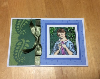 Get Well Card blue and green with girl