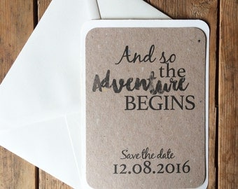 Rustic wedding save the date, 'And so the adventure begins' Save the date, quirky save the date, rustic save the date