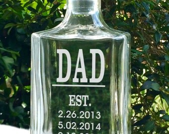 New Dad, First Dad, Personalized Father's Day Gift, Birthday, Grandpa, Papa, Established Dad's Custom Engraved Glass with Kid's Birth Dates