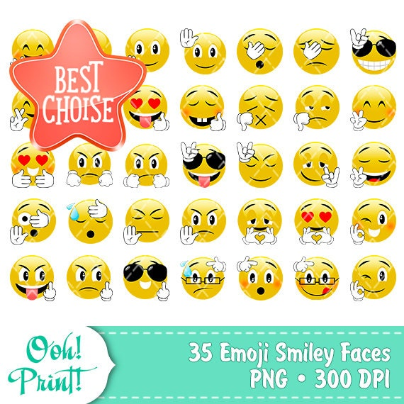 35 PNG Emoji Clip Art Smiley Faces Stickers Feelings Clipart