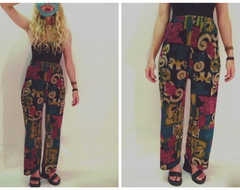 high waisted trousers / lounge pants / stretchy waist trousers / funky pants / patterned trousers / summer trousers